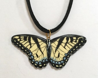 Hand-painted Eastern Tiger Swallowtail Butterfly Pendant, Insect Wildlife Jewellery, Yellow and Black Necklace