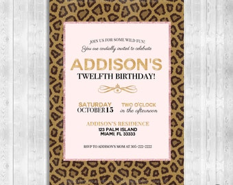 Leopard Birthday Invitation, Birthday Invitation, Pink and Leopard Birthday Invitation, Any Age Birthday Invitation, Leopard Theme