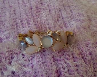 Vintage Lavender Peach Pink Light Blue Diamond and Gold Cuff Bracelet