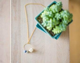 Essential Oil Diffuser Necklace // Wood, Druzy Pyrite & Gemstone Bead on Hoop Pendant