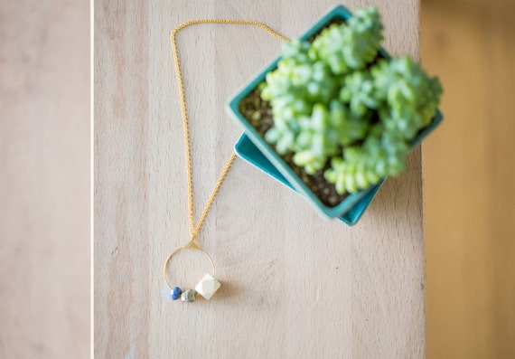 Essential Oil Diffuser Necklace // Wood, Druzy Pyrite & Gemstone Bead on Hoop Pendant