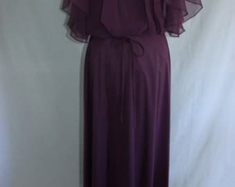 Vintage boho eggplant maxi dress with sheer ruffled top