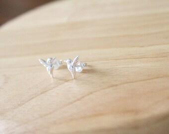 Sterling Silver Bird Studs, Bird Stud Earrings ,Silver Bird Ear Studs, Bird Earrings, Bird Studs, Dainty Earrings, Sterling Silver