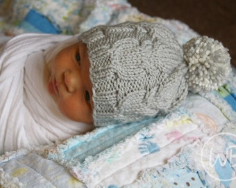 Gray Owl Cable Hat, Gender Neutral Knit Baby Hat, Woodland Baby Hat, Knit Hat for Baby, Gender Neutral Coming Home Outfit, Newborn Photo Hat