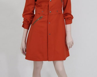 Sheath / 1970s / vintage / divisible in jacket and skirt / orange / Gr. XS / UK 8