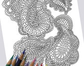 FANCY PAISLEY Coloring Page / Printable Coloring Page / Drawing of Knitting / PDF Paisley Art