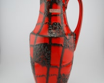 """Scheurich 407-35 """"Harlekin"""" decor Spiderweb red/orange black vase"""