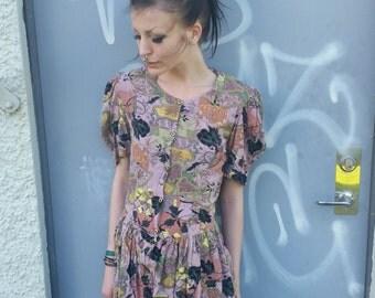 Dress with print,  //forest colour/autumn colour/Vintage