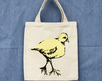walking bird hand screen printed on 12 oz canvas tote bag