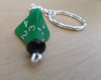 Roleplay Dice Keyring, Green, Wargaming, Specialist, Four Sided Die Keychain