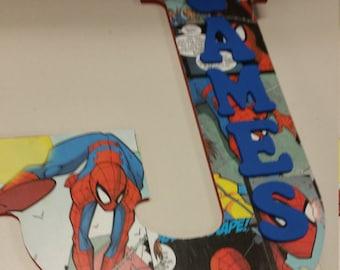 Spiderman name wood letter