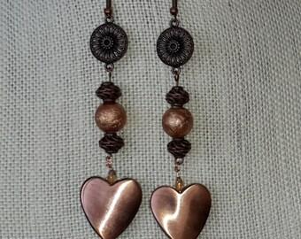 Hearts of copper earrings