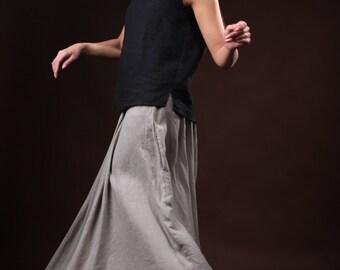 Round neck black linen blouse / Handmade soft linen sleeveless t shirt / Casual linen tank top plain