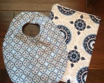 Nautical Bib and Burp Cloth Set, Baby Bib Set, Customized Baby Bib Set, Handmade Baby Bib and Burp Cloth Set