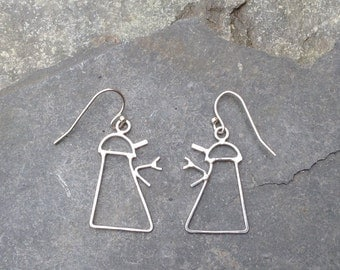 Robot (in style of Dalek) earrings - sterling silver