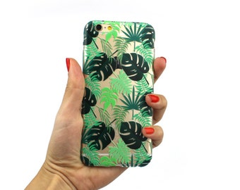 Clear, silicone case with exotic leafes iPhone 6, iPhone 6S, iPhone 6s Plus, iPhone 6 Plus, iPhone SE, iphone 5S, iPhone 4/4S, se iphone