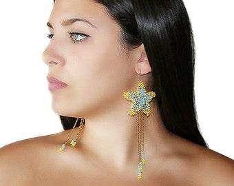 Seed bead sea star earrings, starfish summer earrings, beadwork wire crochet jewelry