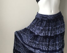 maxi Indigo blue skirt crinkled rayon gauze  ethnic floral print boho hippie gypsy Festival skirt made in India elastic waistband up to 36""