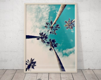 Palm Tree Art Print, California Wall Art, Tropical Landscape, Palm Tree Wall Decor, Turquoise Printable Art, Large Poster, Hawaii Print