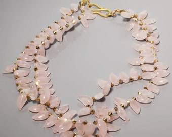 Two Strand Rose Quartz Gold Necklace -Rose Quartz Necklace -Teardrop Necklace -Pink abd Gold Necklace -MultiStrand Necklace -Gift For Her