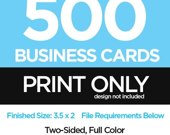 500 Printed Business Cards - Business Card Print Order - Print Shop
