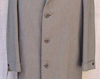 Size 44R 50s Overcoat Vintage Grey Wool