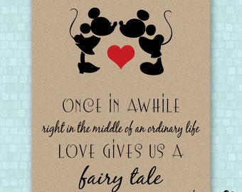 DIGITAL // Mickey and Minnie // Disney Prints // FIVE SIZES // Disney Weddings // Fairy Tale Love // Wedding Gift // Anniversary
