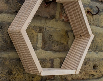 Upcycled wooden hexagon shelf
