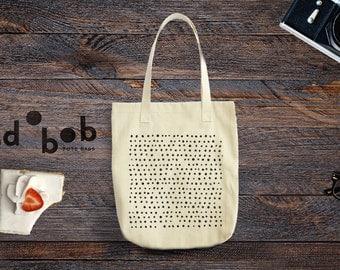 Tote Bag, Geometric Tote Bag Dots - Canvas Tote Bag - Printed Tote Bag - Market Bag - Cotton Tote Bag - Canvas Tote - Funny Tote Bag Dots