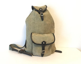 1970's canvas leather hiking green backpack