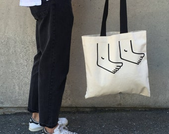 Hands and Feet Tote Bag – Black Handled Canvas Minimal Design