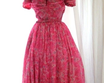 1950s pink floral chiffon dress / 50s party - prom -evening -stage costume  dress small