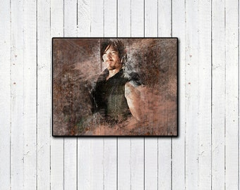 The Walking Dead, Daryl Dixon, Watercolor Print, TWD, Norman Reedus Print, Ride amc, comic books, If Daryl Dies We Riot, Bloody Print, Gifts