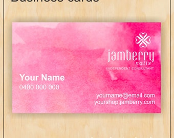 Business Cards for Jamberry Nails - Digital PDF file - Watercolour