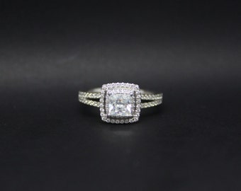 0.51 Ct, Princess, Double Halo, Diamond Engagement Ring. 18 Carat White gold. GIA Certified