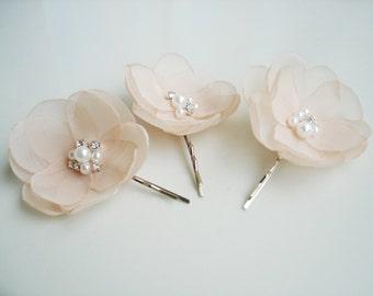 Pale Peach Hair Clip Flower Bridal Hair Accessories Crystal Pearl Peach Hair Piece Wedding Hair Clips Peach Bridesmaids Hair Pins