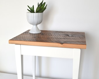 Painted recyled table base with reclaimed barnwood Top