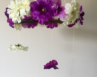 Purple and white Flower mobile, Baby mobile, Nursery mobile