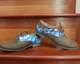 Hand-painted Mountain Oxford Shoes Size 7.5