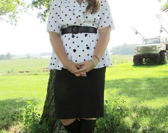Black and White Peplum Dress 1990's does 1940's Polka Dot Top with attached Straight Skirt Rockabilly Size 8-10 Medium-Large Pin-Up