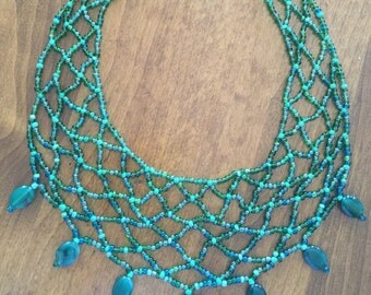Green Stripe Agates Victorian Lace Necklace