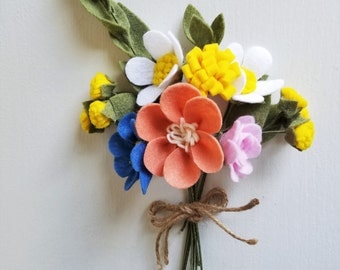 Country Wildflower Bouquet / Felt Flower Bouquet / Wedding Bouquet / Bridesmaid