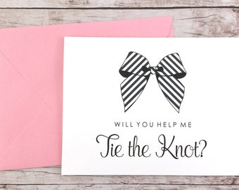 Will You Help Me Tie the Knot Card, Bridesmaid Card, Bridesmaid Proposal Card, Maid of Honor Card, Bridesmaid Gift - (FPS0014)