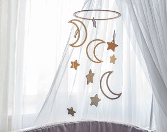 Baby mobile Nursery decor Baby mobile woodland Crib mobile Moon baby mobile Star décor Moon nursery mobile Nursery mobile Star mobile