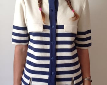 80s white blue cardigan