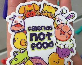 "Friends Not Food Vegan Sticker / Decal (Large - 5"")"