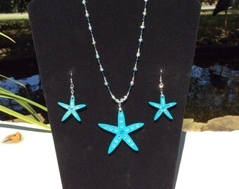 Turquoise Starfish necklace and earring set with inset Swarovski crystals
