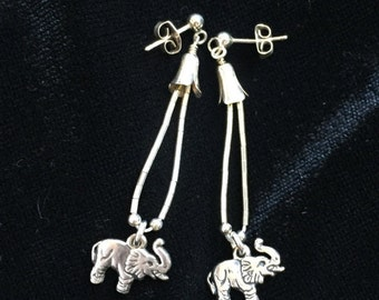 Sterling silver elephant earrings, dangling vintage earrings, zoo