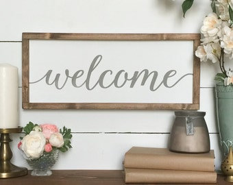 Welcome Sign  -  Welcome Wood sign , Farmhouse Wall Decor , Farmhouse Sign , French ,  Farmhouse Style , Entryway Decor ,  Housewarming Gift