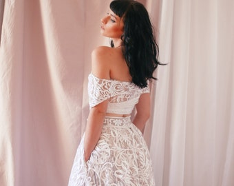Bridal Skirt, Lace Skirt, High Waist Skirt, Floor Length Skirt, Bridal Tulle Skirt, Embroidered Wedding Skirt, Bohemian Wedding Skirt